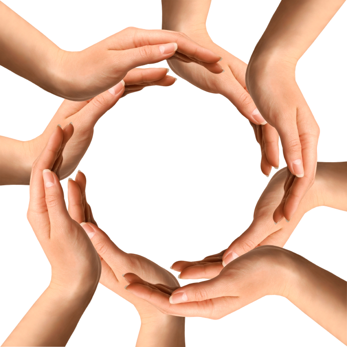 Conceptual symbol of human hands making a circle on white background with a copy space at the centre
